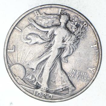 1929-D Walking Liberty Silver Half Dollar - Circulated