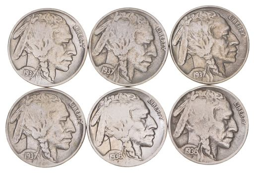 1930-1937 Better Condition: Great Detail in Buffalo Horn - 6 Coin Lot