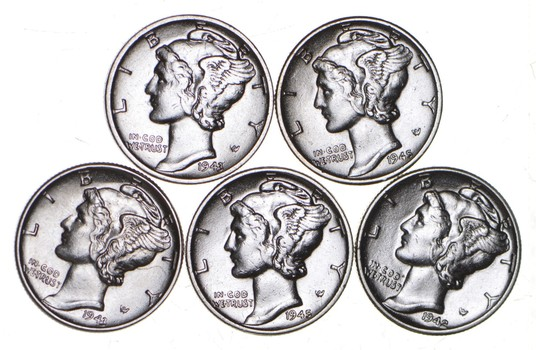 1930-1945 Lot (5) High Grade Mercury Silver Dimes Bullion Coin Collection