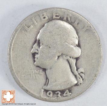 1930's - Depression - LOW MINTAGE - 1934 Washington Quarter - 90% Silver