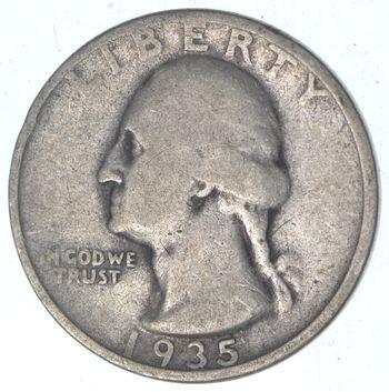 1930's - Depression - LOW MINTAGE - 1935 Washington Quarter - 90% Silver