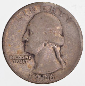 1930's - Depression - LOW MINTAGE - 1936-S Washington Quarter - 90% Silver
