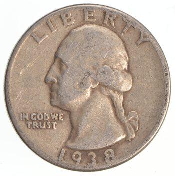 1930's - Depression - LOW MINTAGE - 1938 Washington Quarter - 90% Silver