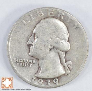 1930's - Depression - LOW MINTAGE - 1939 Washington Quarter - 90% Silver