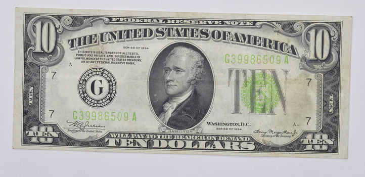 1934 $10.00 Green Seal Federal Reserve Note United States Note