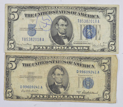 1934 & 1953 $5.00 Silver Certificate Blue Seal US Note Collection Lot