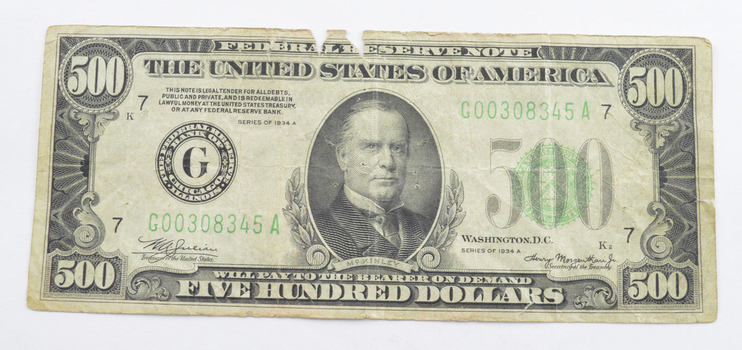 1934-A $500 Federal Reserve Note
