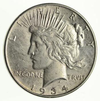 1934-S Peace Silver Dollar - Crusty AU