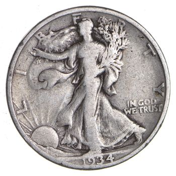 1934-S Walking Liberty 90% Silver US Half Dollar