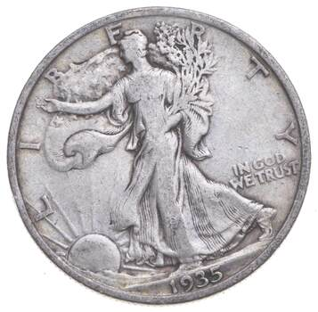 1935 Walking Liberty 90% Silver US Half Dollar
