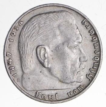1938 GERMAN WW2 NAZI 2 Mark Swastika Silver Historic Coin - Germany War