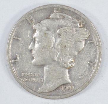 1941-S Mercury Liberty 90% Silver United States Dime