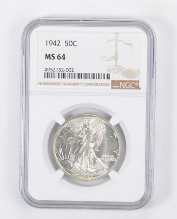 1942 MS-64 Walking Liberty Half Dollar - Graded By NGC - Choice Unc