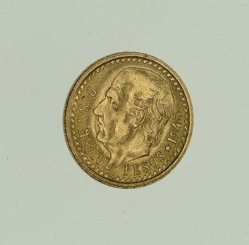 1945 Mexico 2 1/2 Pesos - World Gold Coin