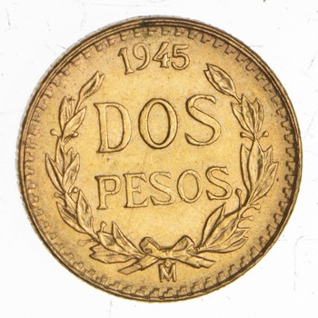 1945 Mexico 2 Pesos Gold Coin