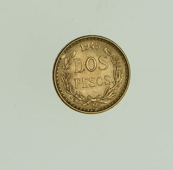 1945 Mexico 2 Pesos - World Gold Coin