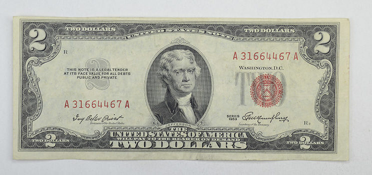 1953 $2.00 Red Seal United States Currency Note