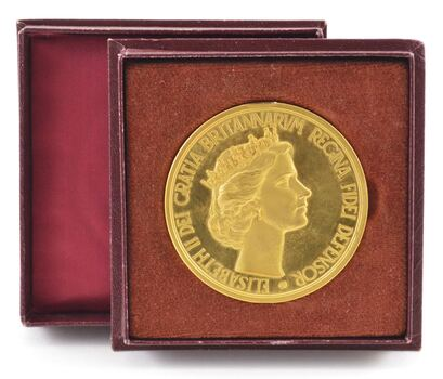 1953 Great Britain Elizabeth II Gold Plated Coronation Medal - Box