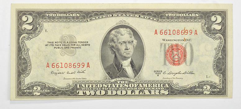 1953-B Douglas Dillon Secretary of the Treasury $2.00 Red Seal US Note