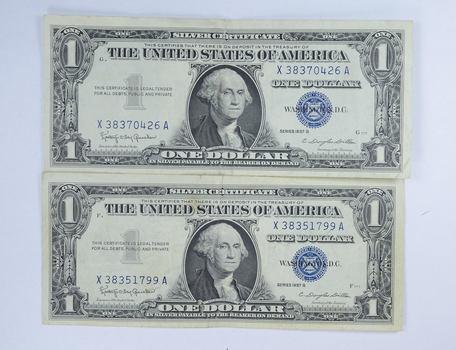 1957-B & 1957 Series Blue Seal Silver Certificate - CRISP (2 Notes ...