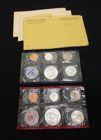 1961 10 Coin P&D US Mint Uncirculated Coin Set - (2) of Each - Pennies, Nickels, Dimes, Quarters, Half Dollars -6 Silver Coins!