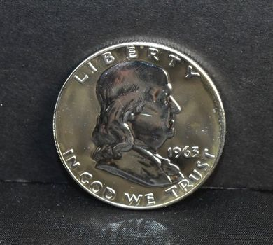 1963- PROOF 90% Silver Franklin Half Dollar