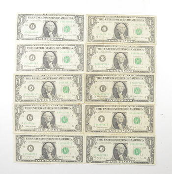1963B $1 BARR Federal Reserve Notes Circulated Lot of 10 One Dollar Bills