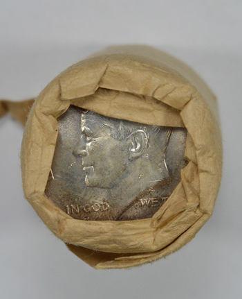 1964 Fed Reserve Bank $10 Roll Kennedy Half Dollars 90% Silver BU