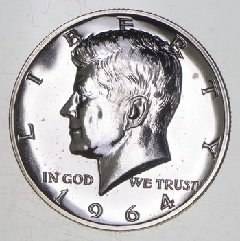 1964 Kennedy Silver Half Dollar Proof - Accented Hair
