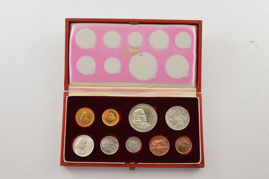 1965 South Africa 9 Coin Mint Set - Approx 0.34 T Oz Combined AGW - Box
