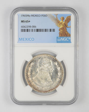 1965-Mo MEXICO SILVER UN PESO JOSE MORELOS NGC MS65+ BRIGHT FROSTY GEM BU COIN