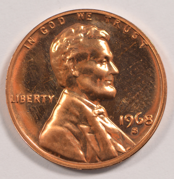 1968 -S San Francisco Minted PROOF Lincoln Memorial Cent