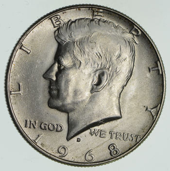 1968-D Denver Minted 40% Silver Kennedy Half Dollar