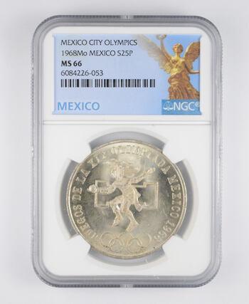 1968-Mo 25 Pesos SILVER NGC - MS66 MEXICO Mexican