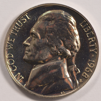 1968-S San Francisco Minted PROOF Jefferson Nickel