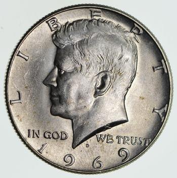 1969-D Denver Minted 40% Silver Kennedy Half Dollar