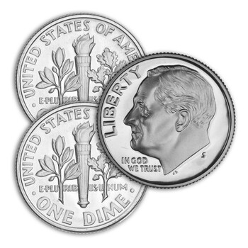 1971 P,D,S Roosevelt Dime- Uncirculated Philadelphia & Denver Minted Proof San Francisco Minted Singles - 3 Coins Total