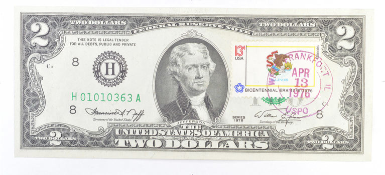 1976 $2.00 Green Seal Note & Stamp - US Currency - Neat!
