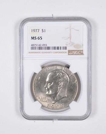 1977 MS65 Eisenhower Ike Dollar NGC Graded - Beautiful