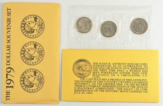 1979 /& 1980 Susan B Anthony 3 Coin Souvenir Set 6 Coins Total With Envelopes