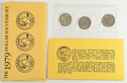 1979 Susan B. Anthony Uncirculated Souvenir Three-Coin Set Set