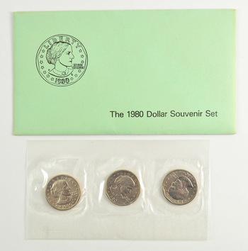 1980 Susan B. Anthony Uncirculated Souvenir Three-Coin Set Set