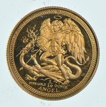 1984 Isle Of Man 1 Angel - 1/10 Oz. World Gold Coin