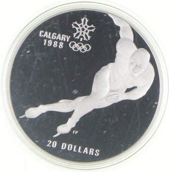 1985 - PROOF 1988 Calgary Winter Olympics Silver $20 Canadian Dollar