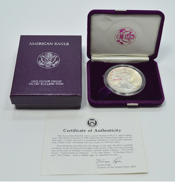 1986 - Proof Cameo - American Silver Eagle 1 Troy Oz .999 Fine Silver w/ Box & COA