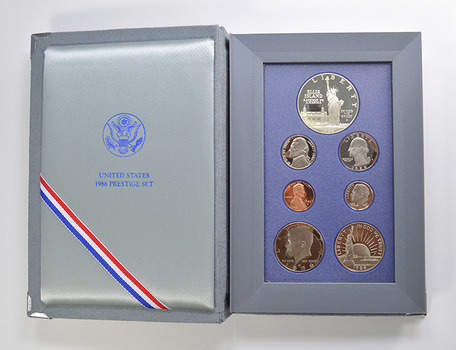 1986 State of Liberty Prestige Deep Cameo Proof Set as Issued by US Mint - Includes State of Liberty Silver Dollar and Half