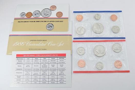 1986 U.S. Mint Set - 10 Coins Total in Original Envelope