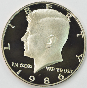 1986-S San Francisco Minted Proof Kennedy Half Dollar
