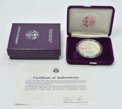 1987 - Proof Cameo - American Silver Eagle 1 Troy Oz .999 Fine Silver w/ Box & COA