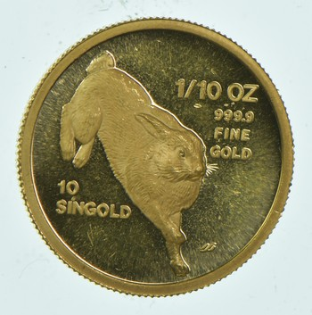 1987 Singapore 10 Singold - 1/10 Oz. World Gold Coin